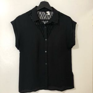Black Collar Button Down Top with Lace Design